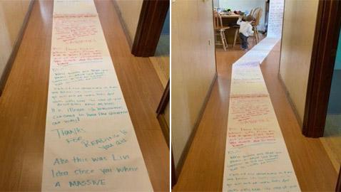 طفلة تكتب رسالة بطول 15 مترا لجارتها بهدف استعادة لعبها.. صور