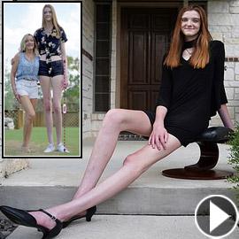 فيديو وصور: فتاة تمتلك أطول ساقين في العالم.. يزيد طولها على مترين!