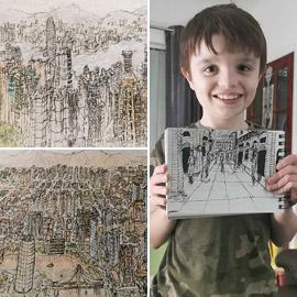 رغم إصابته بالتوحد طفل بريطاني يبدع بتميز برسم مدن عالمية! صور