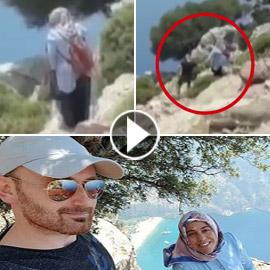 فيديو صادم يظهر اللحظات الأخيرة للتركية التي دفعها زوجها من الجبل